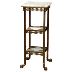 Antique Aesthetic Movement Brass & Onyx Three Tiered Plant Stand, Circa 1870