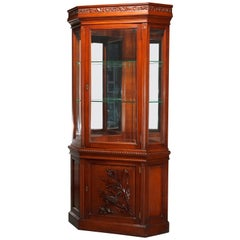 Antique Aesthetic Movement Carved Cherry Faceted & Mirrored Corner Cabinet c1890