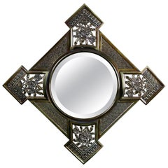 Antique Aesthetic Movement Cast Brass Bradley & Hubbard Wall Mirror, circa 1884