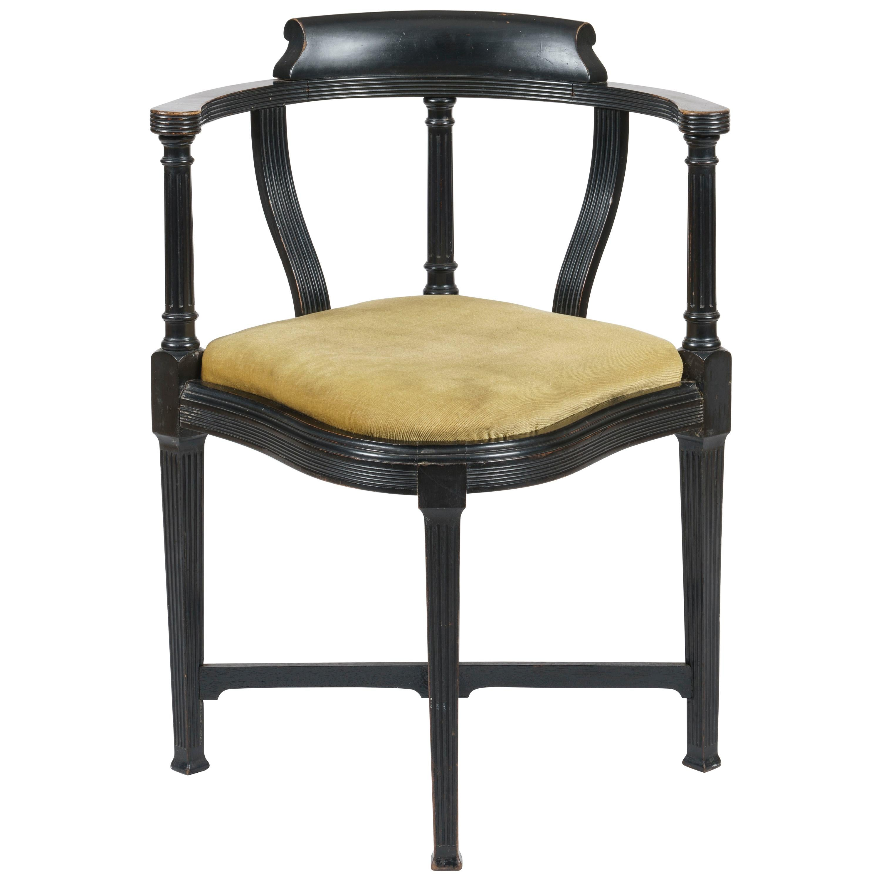 Aesthetic Movement Ebonized Chair by Lamb of Manchester designed by W.J. Estall