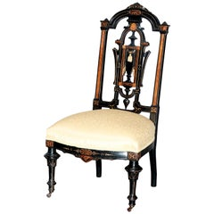 Antique Aesthetic Movement Ebonized, Gilt and Burl Side Chair, 19th Century