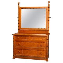 Antique Aesthetic Movement Faux Bamboo Birdseye Maple RJ Horner School Dresser