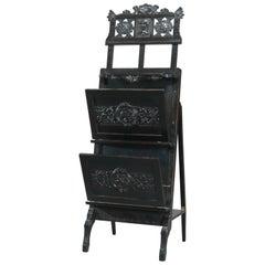 Antique Aesthetic Movement Figural Ebonized Carved Easel Portfolio Stand, c1870