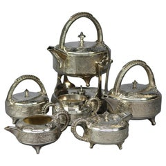 Antique Aesthetic Movement Hammered Silver Plate Tea Set by Rogers, 1870