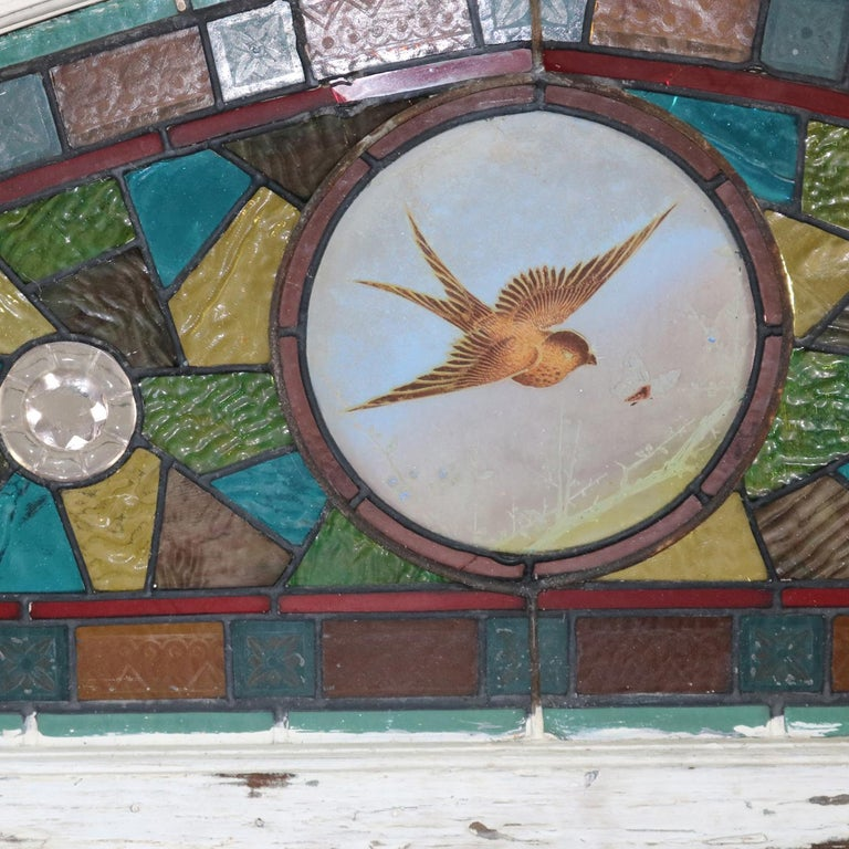 Antique Aesthetic Movement Leaded and Jeweled Mosaic Stained Glass Window For Sale 2
