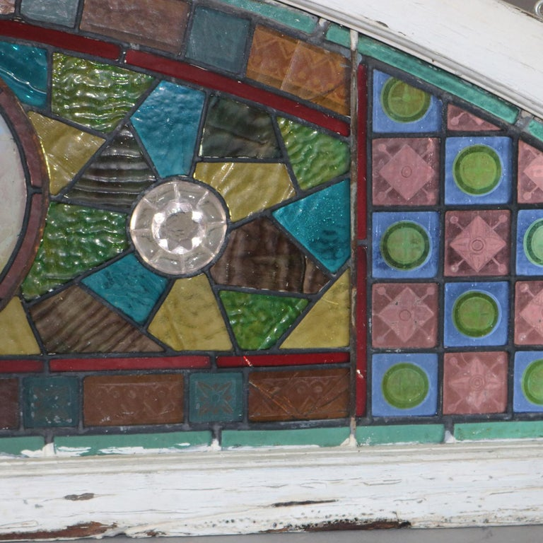 Arts and Crafts Antique Aesthetic Movement Leaded and Jeweled Mosaic Stained Glass Window For Sale