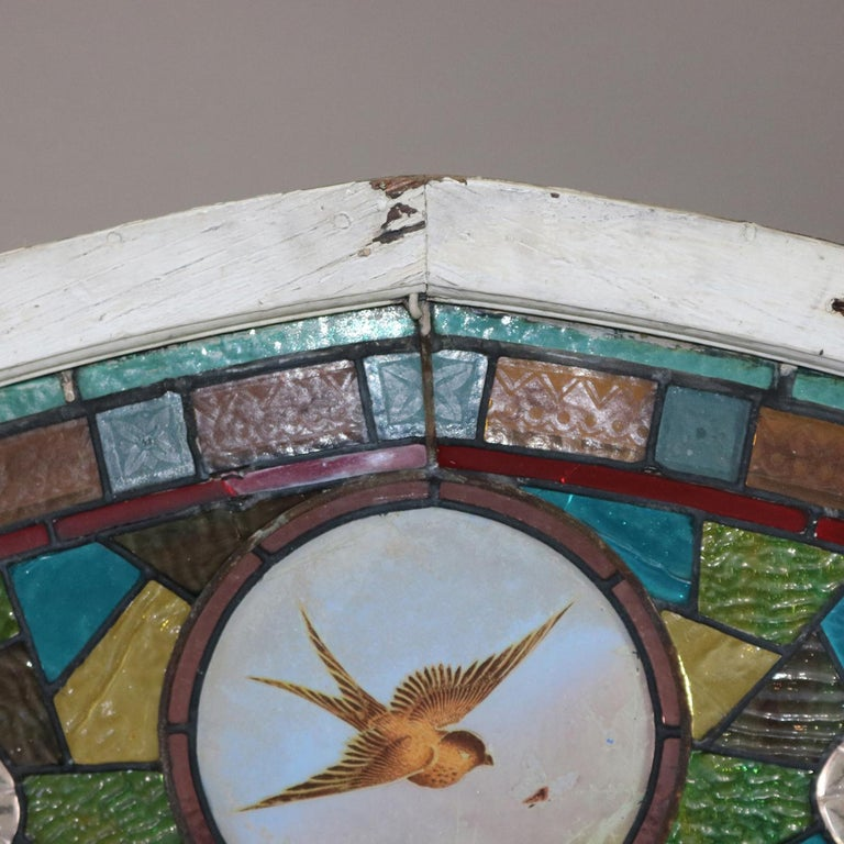 American Antique Aesthetic Movement Leaded and Jeweled Mosaic Stained Glass Window For Sale