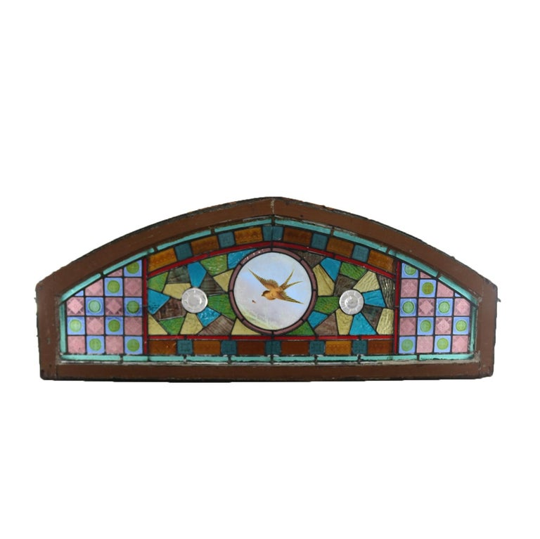 Hand-Painted Antique Aesthetic Movement Leaded and Jeweled Mosaic Stained Glass Window For Sale