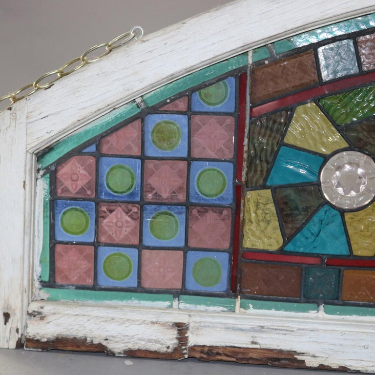 19th Century Antique Aesthetic Movement Leaded and Jeweled Mosaic Stained Glass Window For Sale
