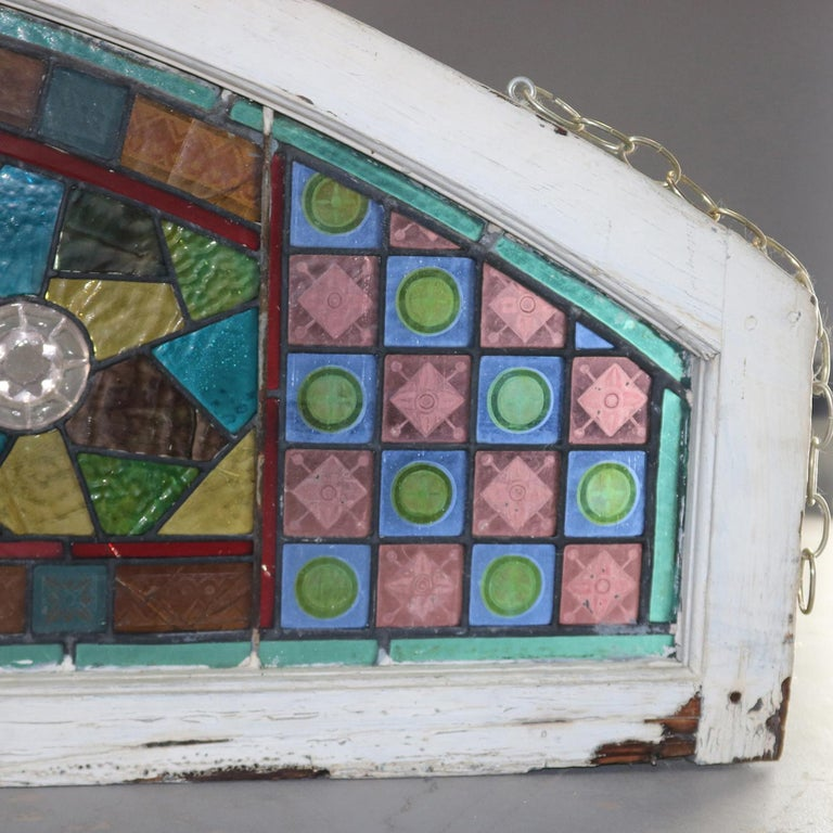 Wood Antique Aesthetic Movement Leaded and Jeweled Mosaic Stained Glass Window For Sale