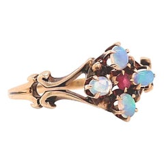 Antique Aesthetic Movement Ruby Opal Flower Cluster Ring