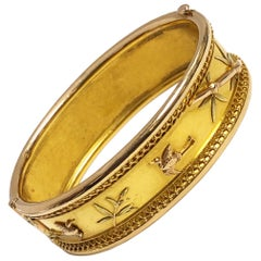 Antique Aesthetic Movement Yellow Gold Bangle Bracelet in the Japanese Style