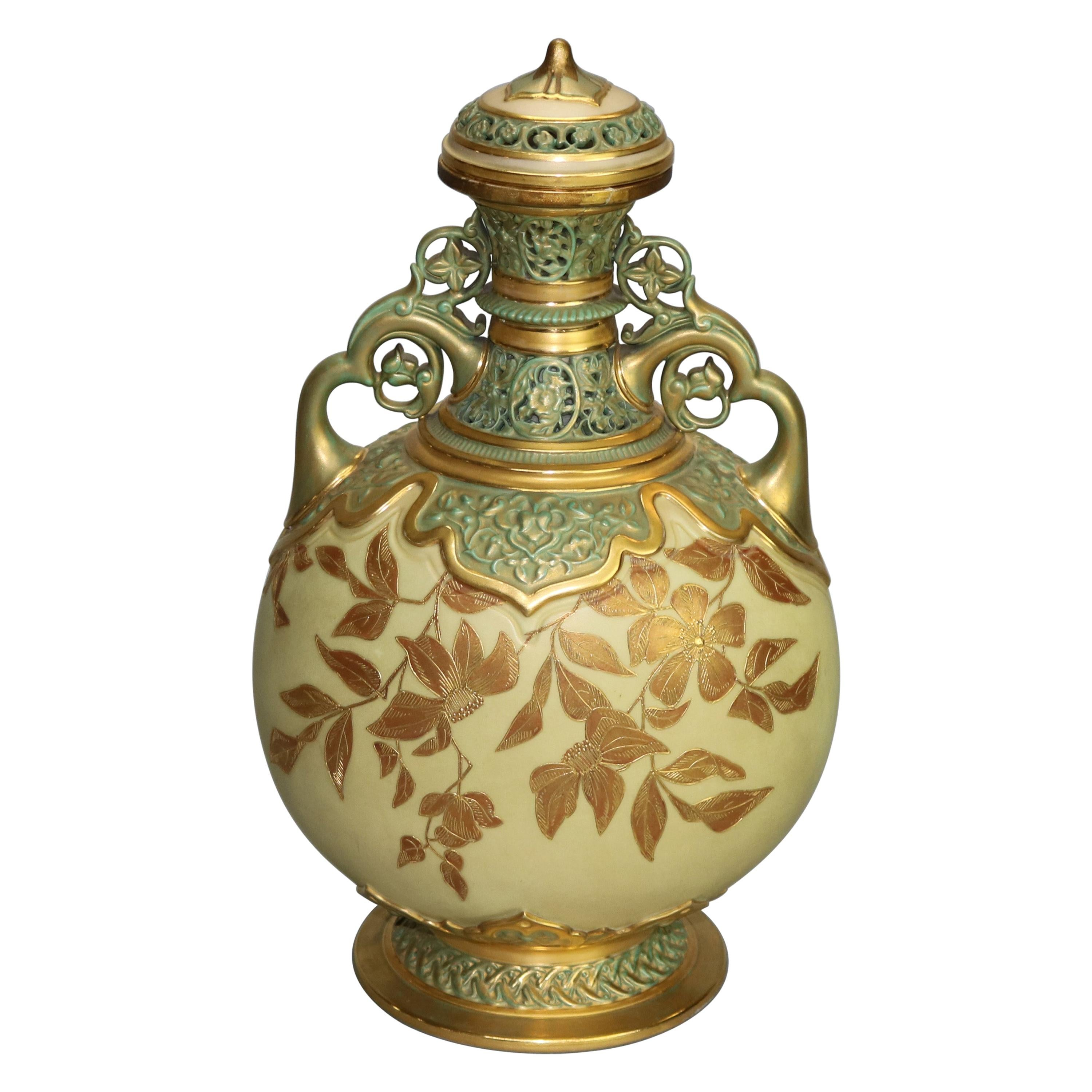 Antique Aesthetic Royal Worcester Reticulated Porcelain Urn 'as found', c1890