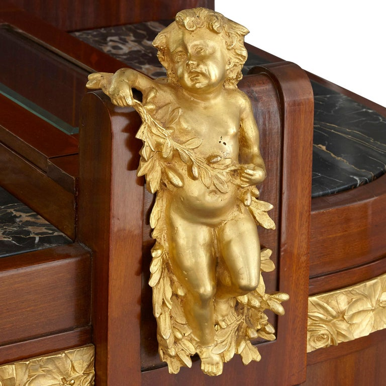 Aesthetic Movement Antique Aesthetic Style Marquetry and Gilt Bronze Dressing Table For Sale