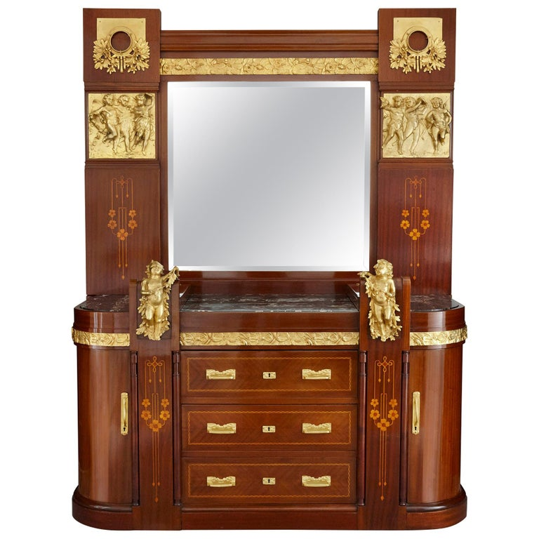 Antique Aesthetic Style Marquetry and Gilt Bronze Dressing Table For Sale