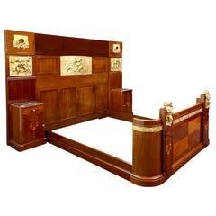 Antique Aesthetic Style Marquetry and Gilt Bronze Mounted Bed