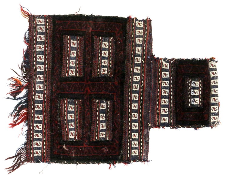 Antique Afghan Balouch Salt Bag, Wall Hanging, Afghan Tapestry, Tribal Textile In Good Condition For Sale In Dallas, TX