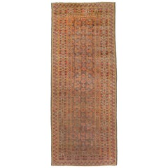 Antique Afghan Bashir Style Rug with Black and Yellow Floral & Geometric Details