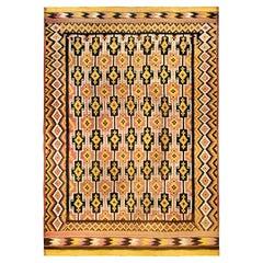 Antique Afghan Black, Yellow and Rose Kilim Wool Rug
