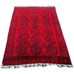 Antique Afghan Rug Rich Red Background, 1920
