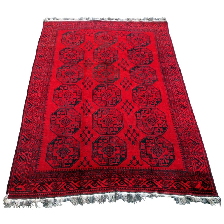 Antique Afghan Rugs: Antique Afghan Rug Rich Red Background, 1920 For Sale At