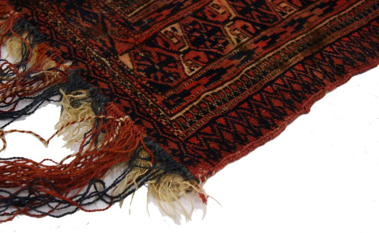 76641, antique Afghan Turkoman Turkmen Torba bag, wall hanging, tribal textile tapestry. This hand knotted wool antique Afghan Turkmen Turkoman Torba storage bag features an all-over symmetrical geometric pattern of Gul motifs, possibly Tekke,