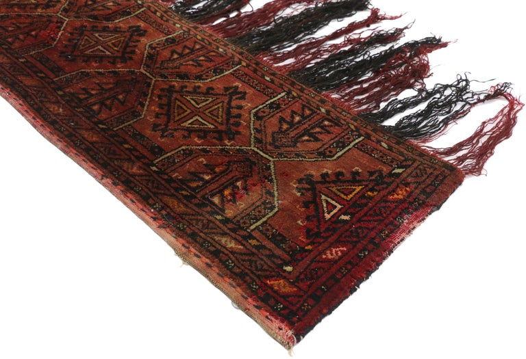 77254, antique Afghan Turkoman Turkmen Torba bag, wall hanging, tribal textile tapestry. This hand knotted wool antique Afghan Turkmen Turkoman Torba storage bag features an all-over symmetrical geometric pattern of Gul motifs, possibly Tekke,