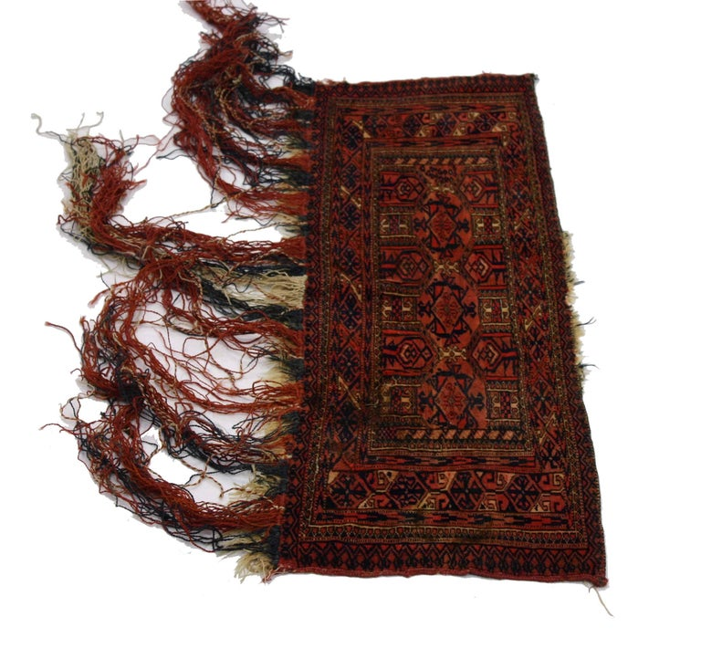 Hand-Knotted Antique Afghan Turkoman Turkmen Torba Bag, Wall Hanging, Tribal Textile Tapestry For Sale