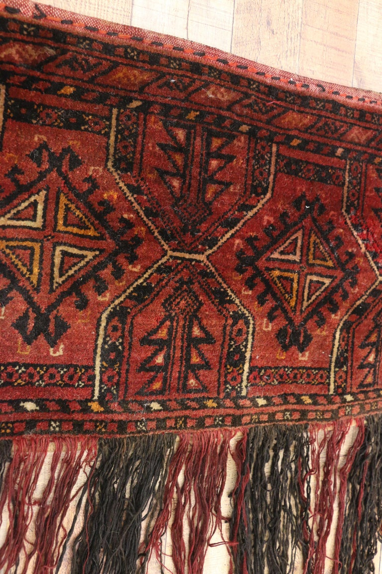 Antique Afghan Turkoman Turkmen Torba Bag, Wall Hanging, Tribal Textile Tapestry In Good Condition For Sale In Dallas, TX