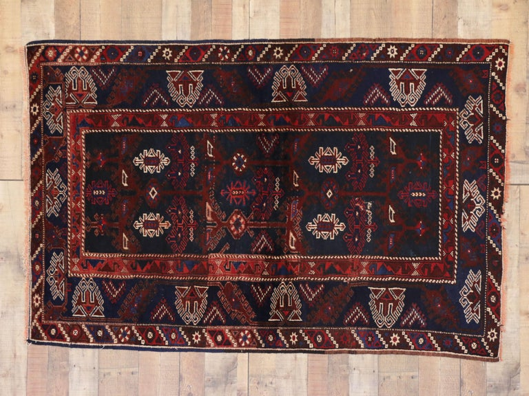 Hand-Knotted Antique Afghani Tribal Rug or Kitchen, Bath, Foyer or Entryway For Sale