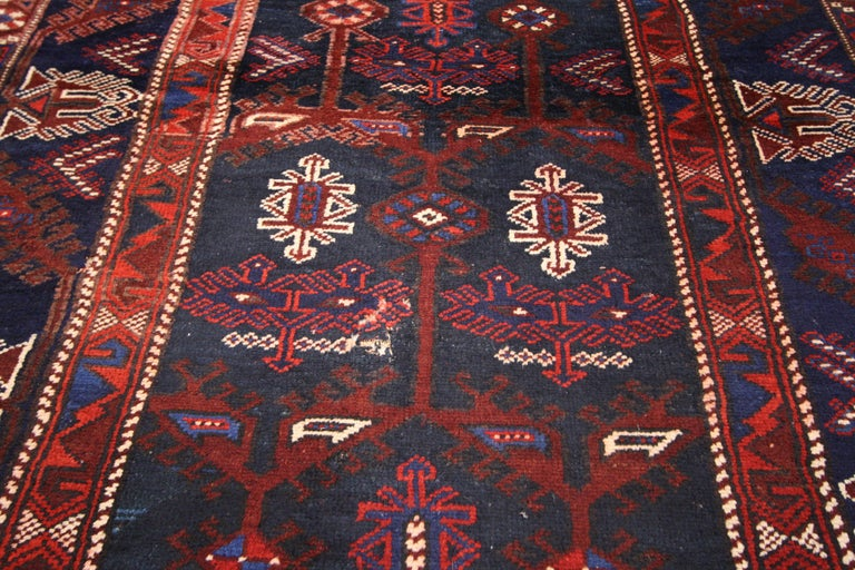 Antique Afghani Tribal Rug or Kitchen, Bath, Foyer or Entryway In Good Condition For Sale In Dallas, TX