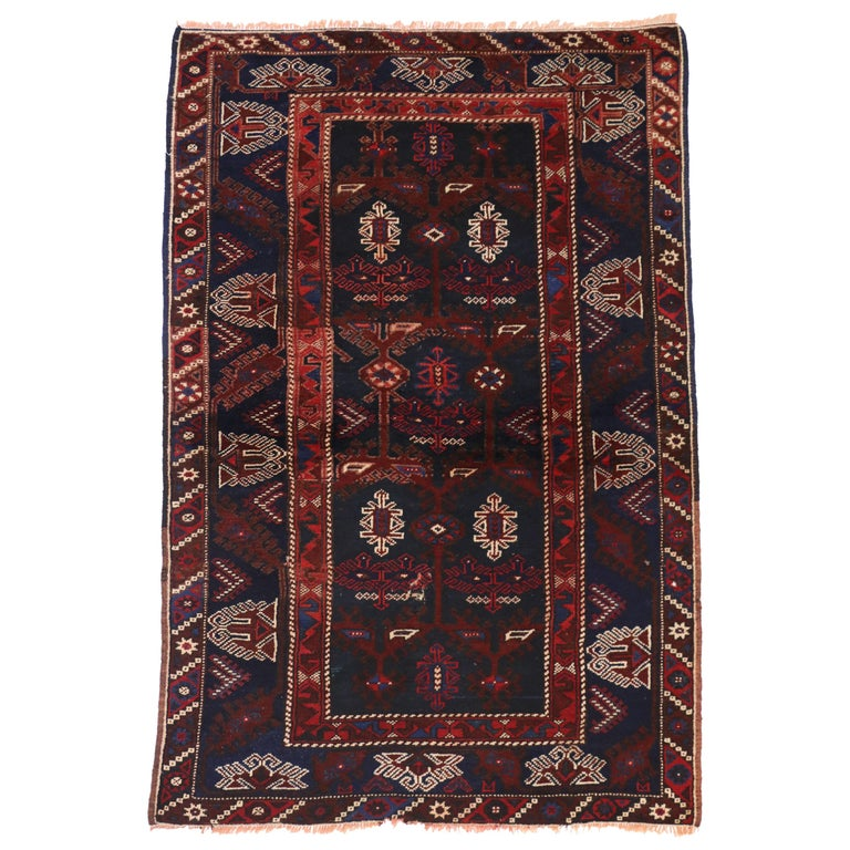 Antique Afghani Tribal Rug or Kitchen, Bath, Foyer or Entryway For Sale