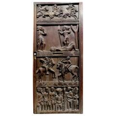 Antique African Entrance Door, Dark Wood Carved Tribal Figures, 1900s