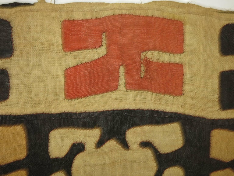 Antique raffia African mounted Kuba weaving or textile. Measure: 124'' x 13'' wide.