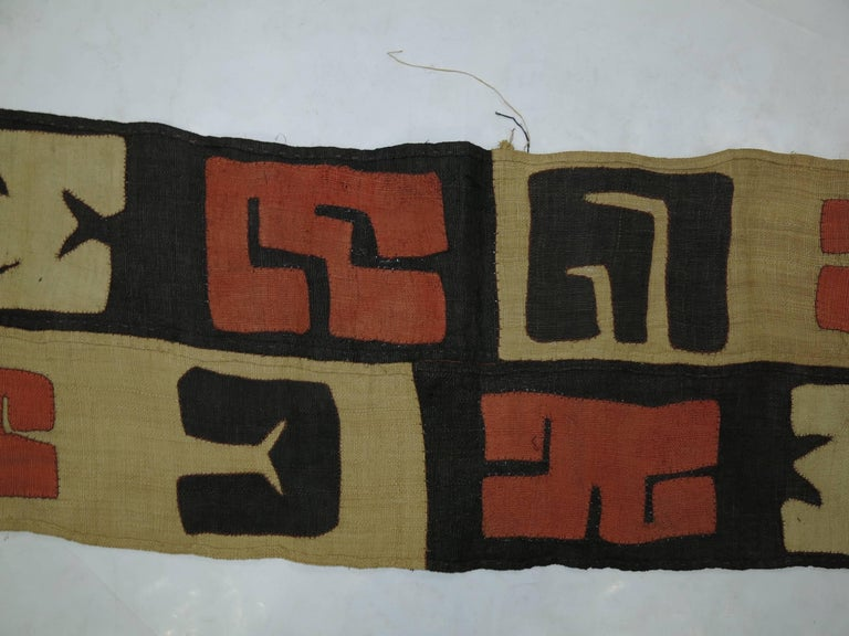 Hand-Knotted Antique African Kuba Cloth Hanging For Sale