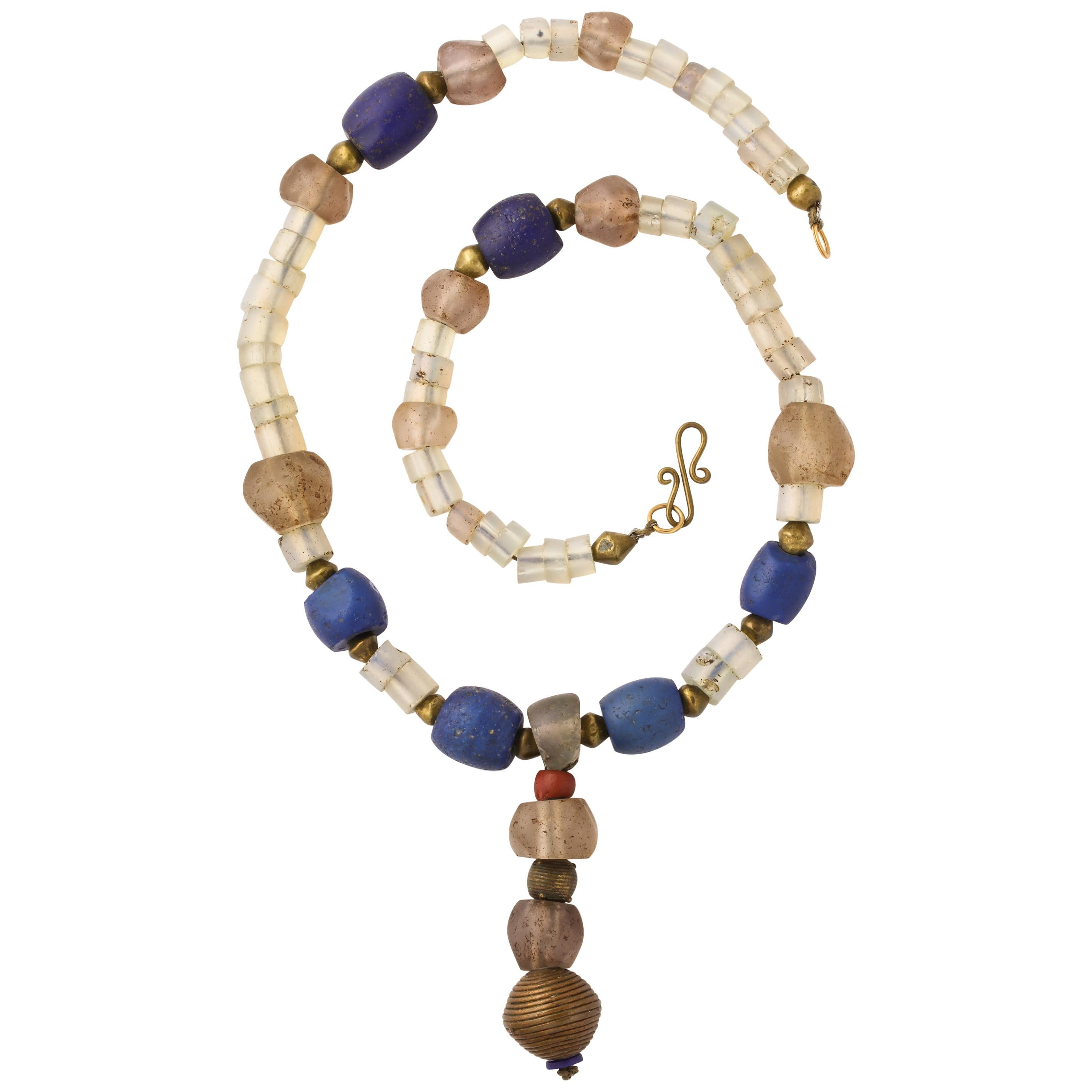 Antique African Silver and Brass Bead Necklace