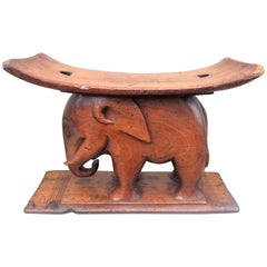 Antique African Walnut Pillow Stand and Stool Carved in Elephant Form