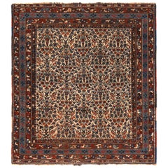 Antique Afshar Floral Cream Red and Blue Wool Persian Rug