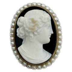 Antique Agate Cameo and Pearl Brooch