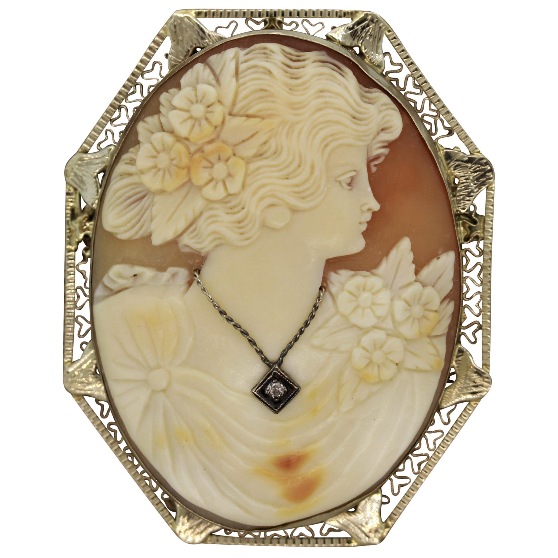 Antique Agate Cameo Diamond Gold Pendant-Brooch