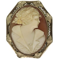 Antique Agate Cameo Gold Pendant-Brooch