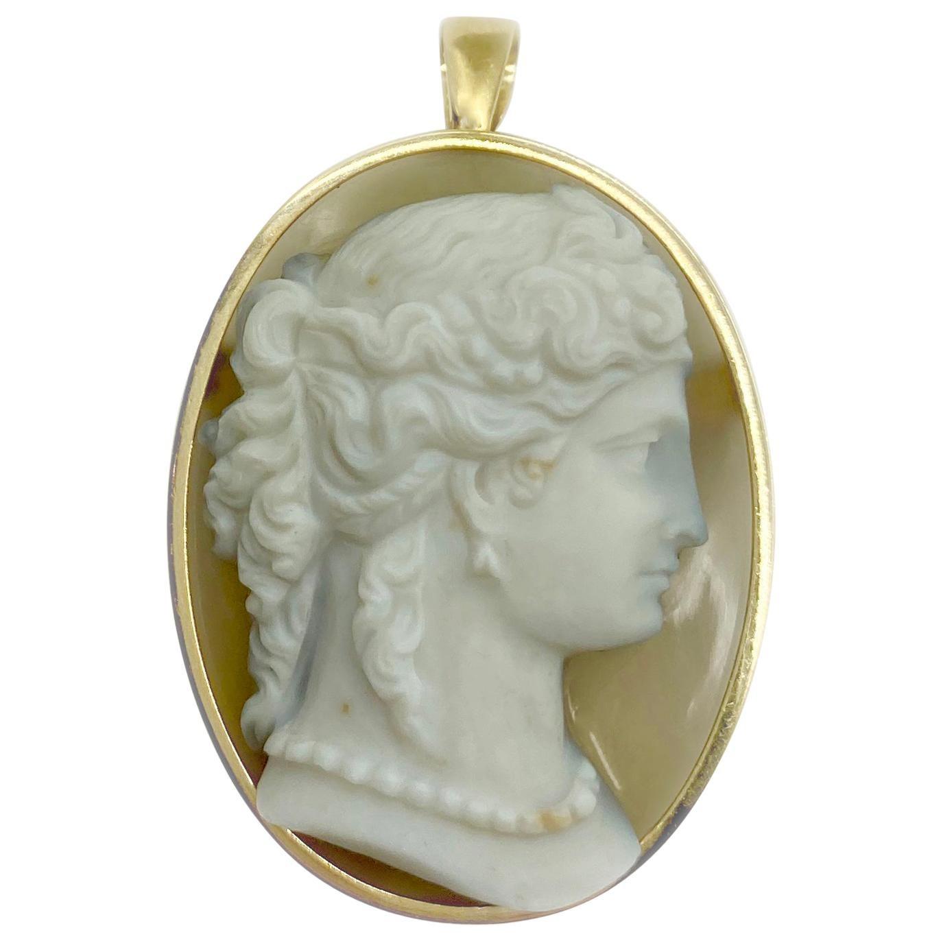 Antique Agate Cameo Pendant Brooch