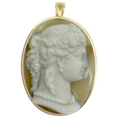 Antique Agate Cameo Pendant Brooch