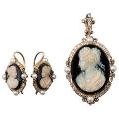 Antique Agate Cameos Diamonds and Pearls French Earrings and Pendant