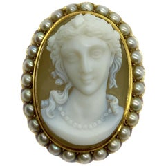 Antique Agate Lady Cameo and Pearl Brooch