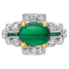 Antique AGL Certified Cabochon Emerald and Diamond Ring
