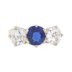 Antique AGL Certified Kashmir Sapphire Diamond Three Stone Gold Ring