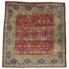 Antique Agra Exc Cond Square Hand Knotted Rug