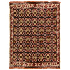 Antique Agra Geometric Beigr and Red Wool Floral Rug