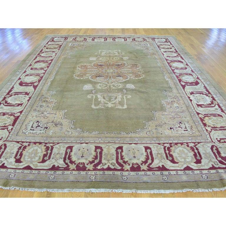 Antique Agra mint condition full pile Medallion design rug   Measures: 9'0